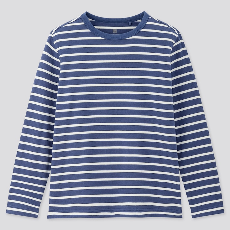 Kids Striped Crew Neck Long-Sleeve T-Shirt, Blue, Large