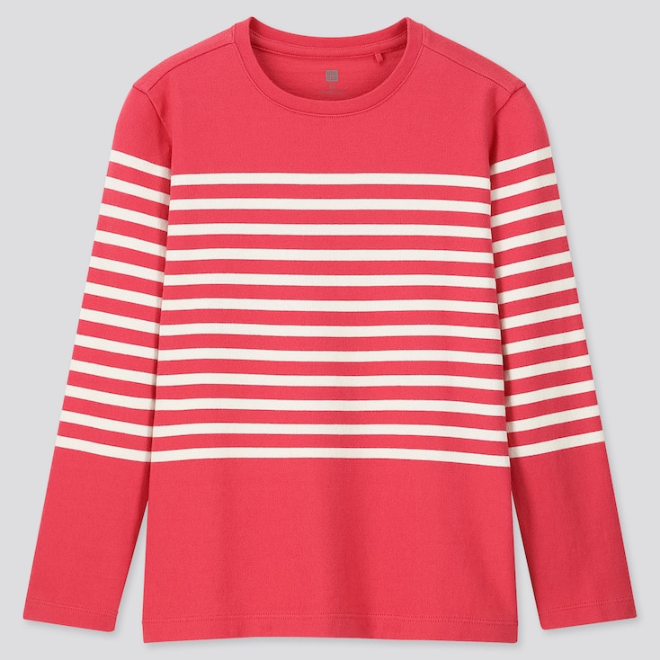 Kids Striped Crew Neck Long-Sleeve T-Shirt, Red, Large