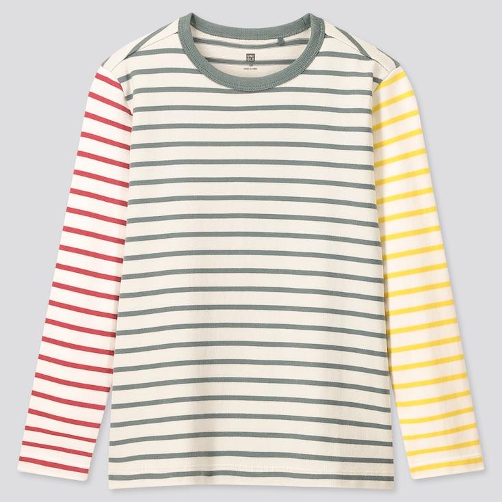 Kids Striped Crew Neck Long-Sleeve T-Shirt, Green, Large