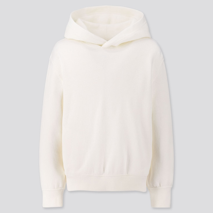 Kids Sweat Pullover Hoodie, Off White, Large