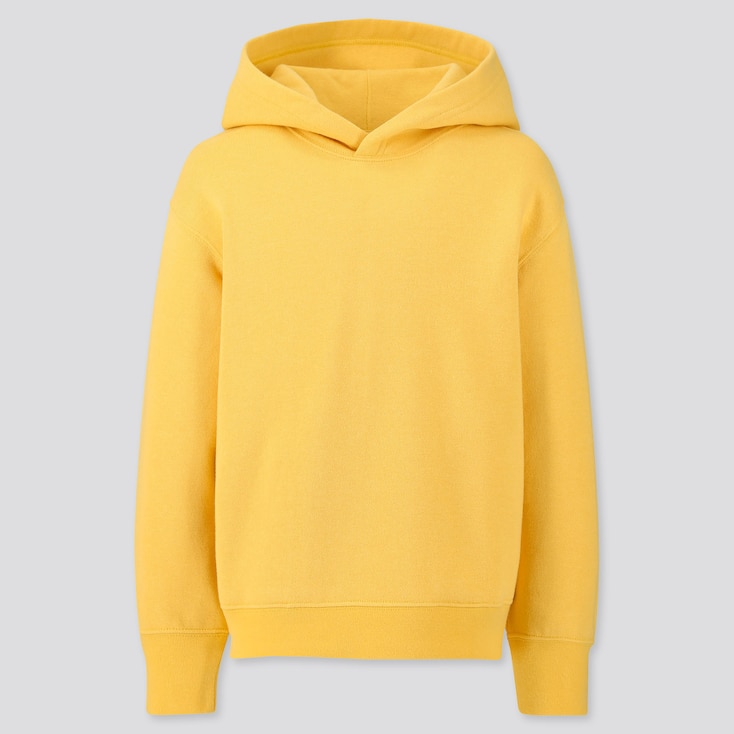 Kids Sweat Pullover Hoodie, Yellow, Large