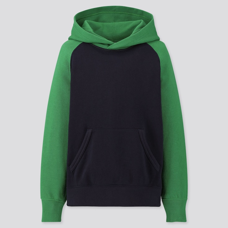 Kids Sweat Pullover Hoodie, Green, Large