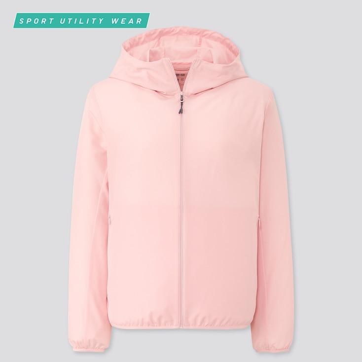 Women Pocketable Uv Cut Parka, Pink, Large