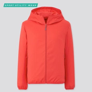 Women Pocketable Uv Protection Parka, Red, Medium
