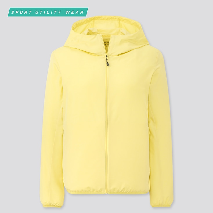Women Pocketable Uv Protection Parka, Yellow, Large