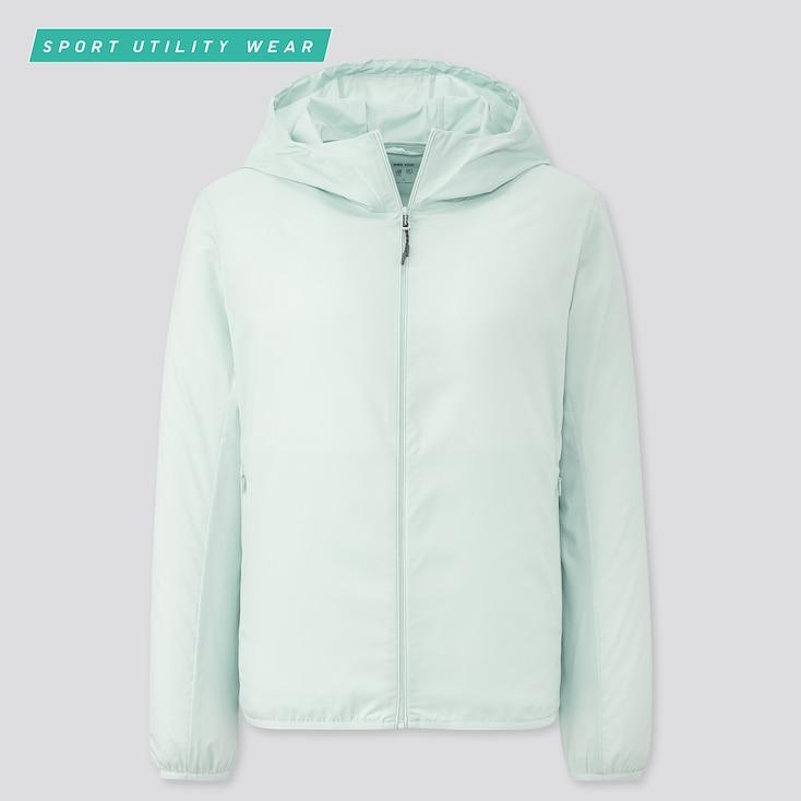 Women Pocketable Uv Cut Parka, Light Green, Large