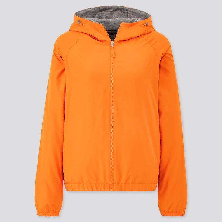 Women Reversible Parka, Orange, Large