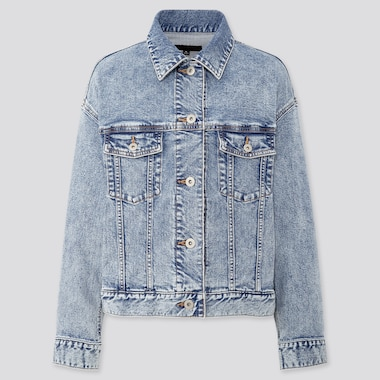 Women Denim Oversized Jacket, Blue, Medium