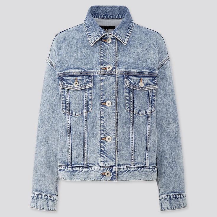 Women Denim Oversized Jacket, Blue, Large