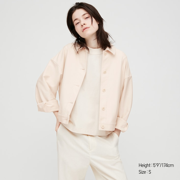Women Jersey Relaxed Jacket, Off White, Large