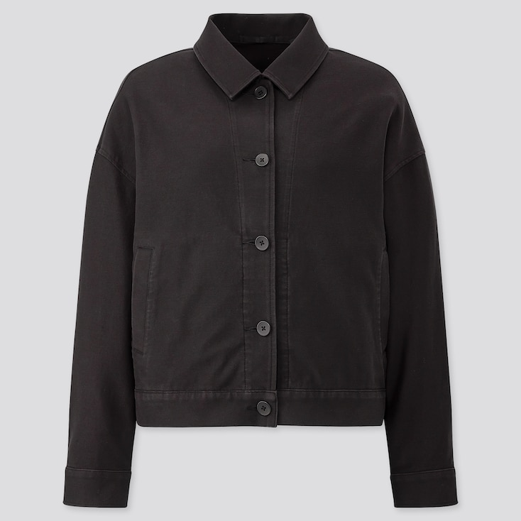 Women Jersey Relaxed Jacket, Black, Large