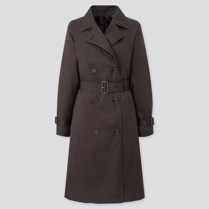Women Relax Trench Coat, Black, Large