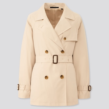 Women Relax Short Trench Coat, Natural, Medium