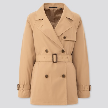 Women Relaxed Fit Short Trench Coat