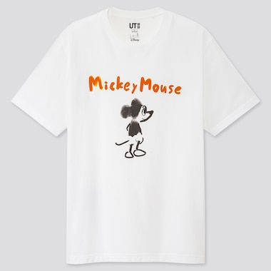 Mickey Manga Art Ut Kotobuki Shiriagari (Short-Sleeve Graphic T-Shirt), White, Medium