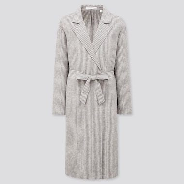 Women Linen Cotton Coat, Dark Gray, Medium
