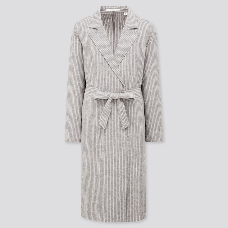 Women Linen Cotton Coat, Dark Gray, Large