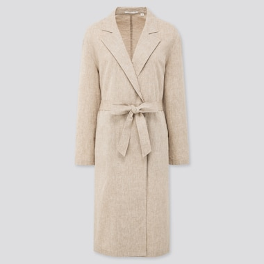 Women Linen Cotton Coat, Beige, Medium