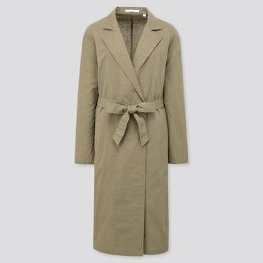 Women Linen Cotton Coat, Green, Medium