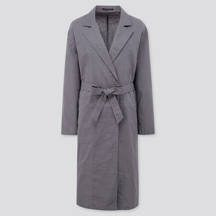 Women Linen Cotton Coat, Blue, Large