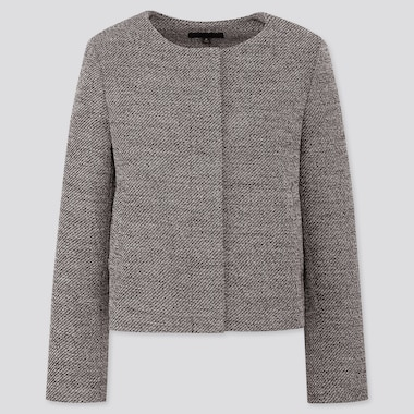 Women Tweed Collarless Jacket, Dark Gray, Medium