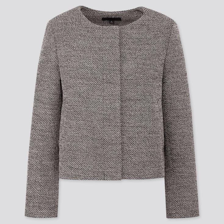 Women Tweed Collarless Jacket, Dark Gray, Large