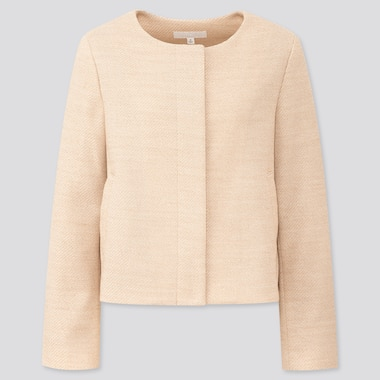 Women Tweed Collarless Jacket (Online Exclusive), Beige, Medium
