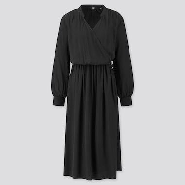 WOMEN RAYON LONG-SLEEVE WRAP DRESS, BLACK, medium