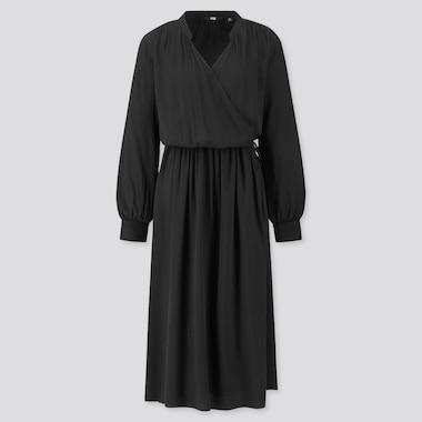 Women Rayon Long-Sleeve Wrap Dress, Black, Medium