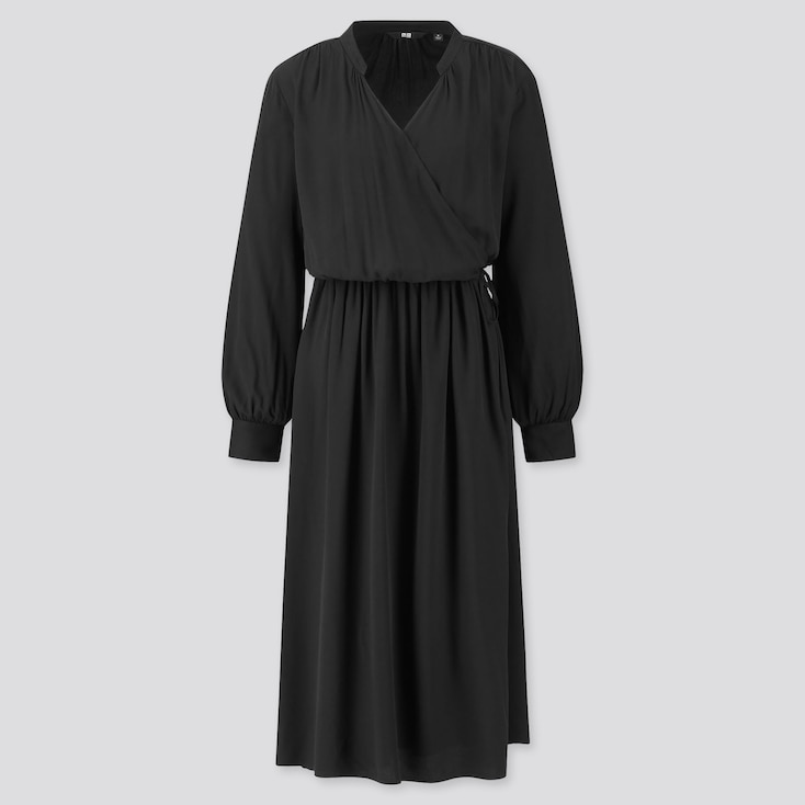 Women Rayon Long-sleeve Wrap Dress, Black, Large