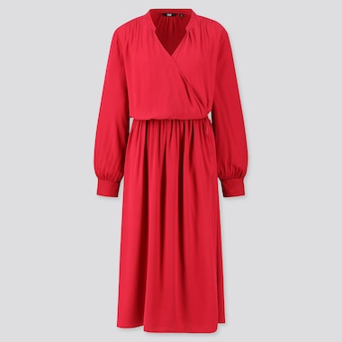 WOMEN RAYON LONG-SLEEVE WRAP DRESS, RED, medium