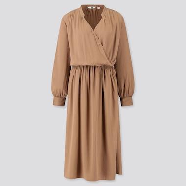 Women Rayon Long-Sleeve Wrap Dress, Brown, Medium