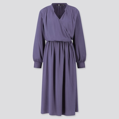 Women Rayon Long-Sleeve Wrap Dress, Blue, Medium