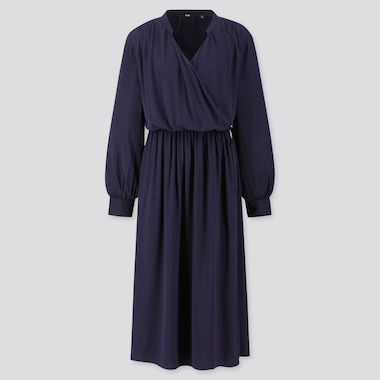 WOMEN RAYON LONG-SLEEVE WRAP DRESS, NAVY, medium