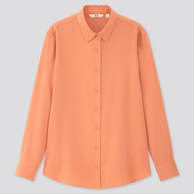 Women Rayon Long-Sleeve Blouse, Light Orange, Medium