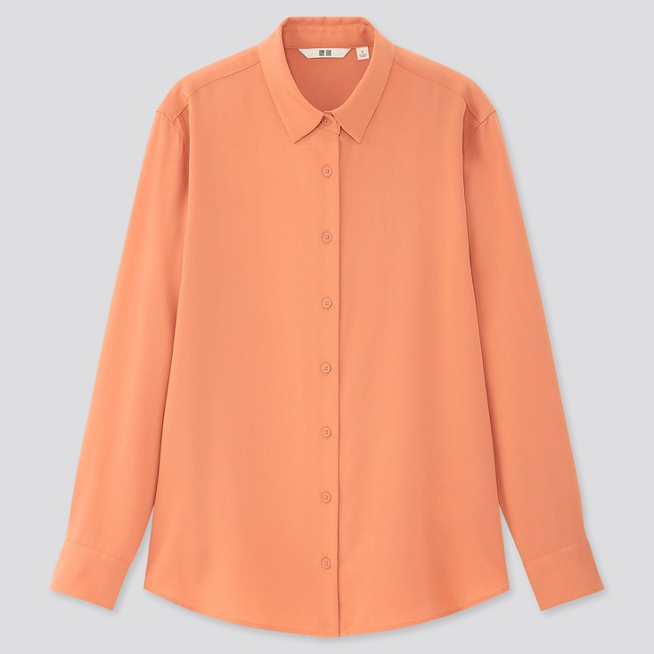 Women Rayon Long-Sleeve Blouse, Light Orange, Large