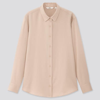 Women Rayon Classic Collar Long Sleeved Blouse