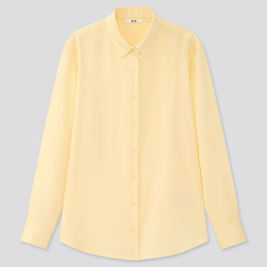 Women Rayon Long-Sleeve Blouse, Yellow, Medium