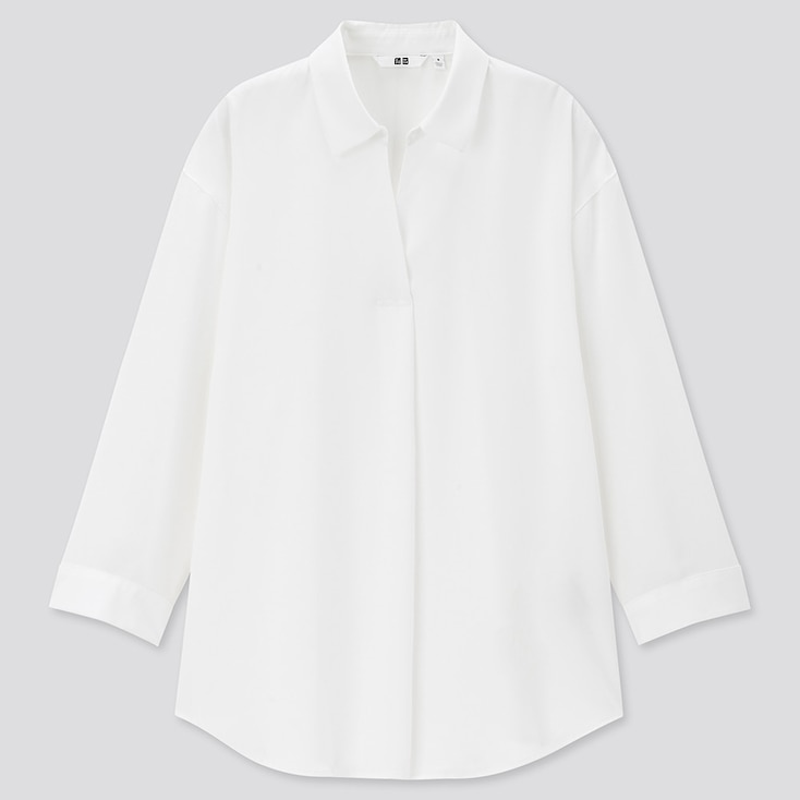 Women Rayon Skipper Collar 3/4 Sleeve Blouse, White, Large