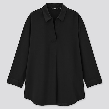 Women Rayon Skipper Collar 3/4 Sleeve Blouse, Black, Medium