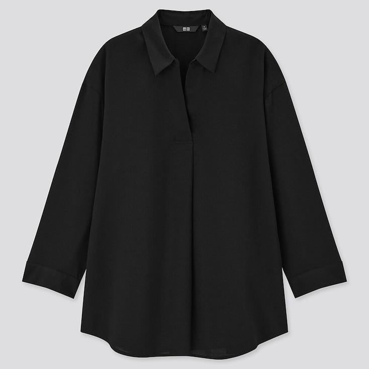 Women Rayon Skipper Collar 3/4 Sleeve Blouse, Black, Large