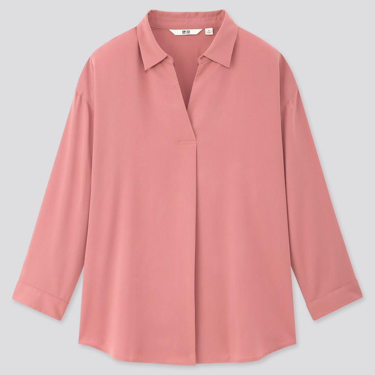Women Rayon Skipper Collar 3/4 Sleeve Blouse, Pink, Large