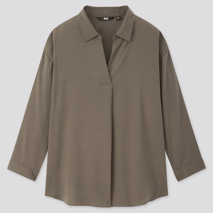 Women Rayon Skipper Collar 3/4 Sleeve Blouse, Olive, Large