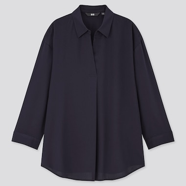 Women Rayon Skipper Collar 3/4 Sleeve Blouse, Navy, Medium