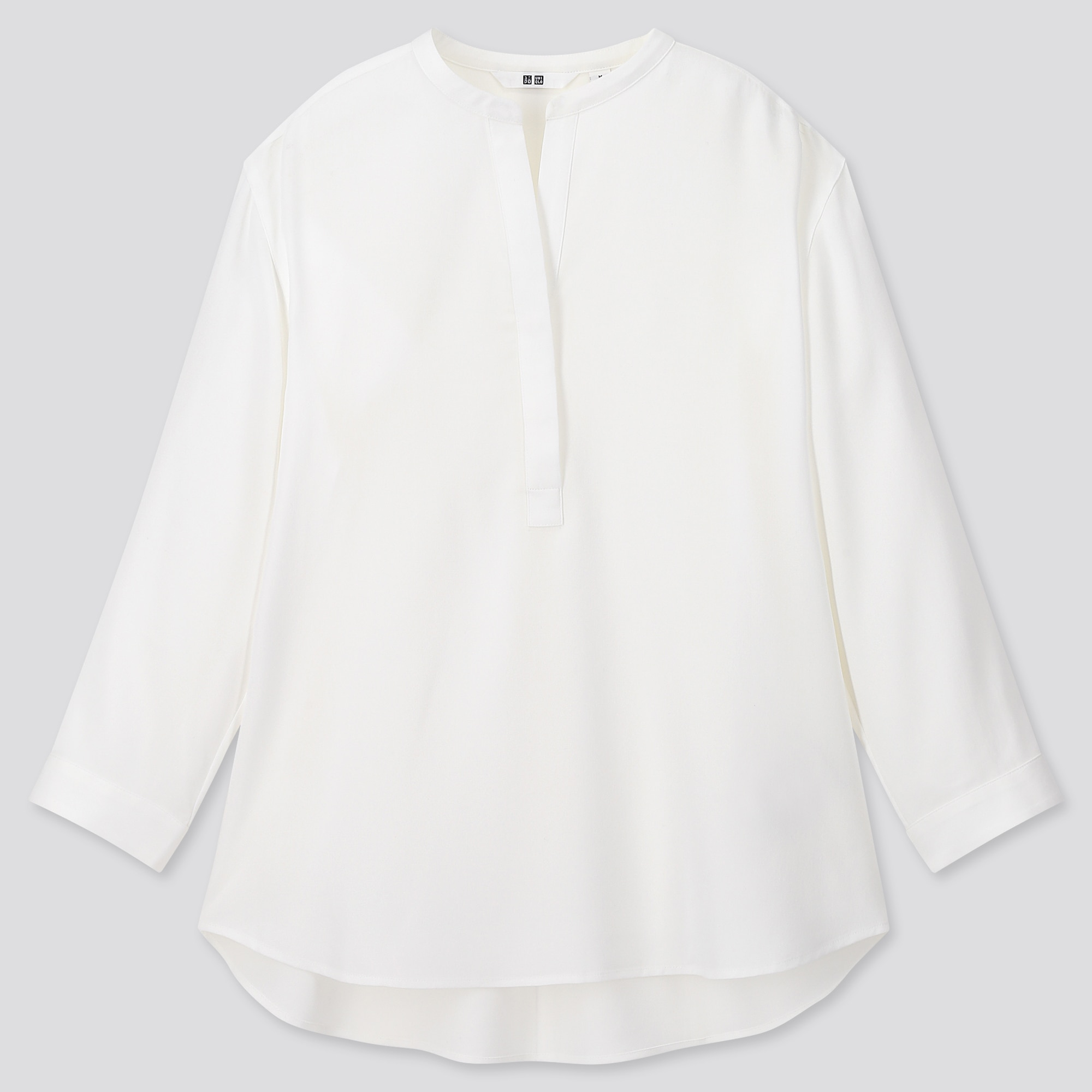 women rayon stand collar 3/4 sleeve blouse