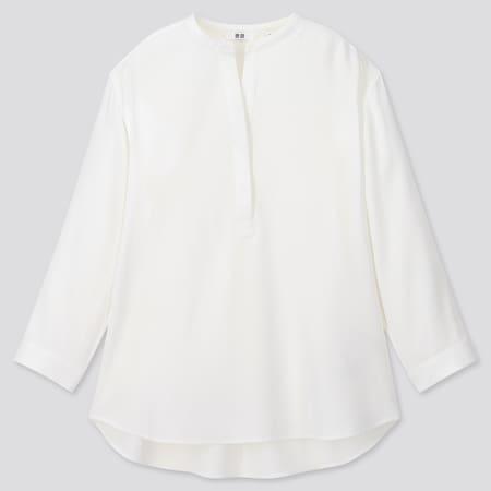 Women Viscose Grandad Collar 3/4 Sleeved Blouse