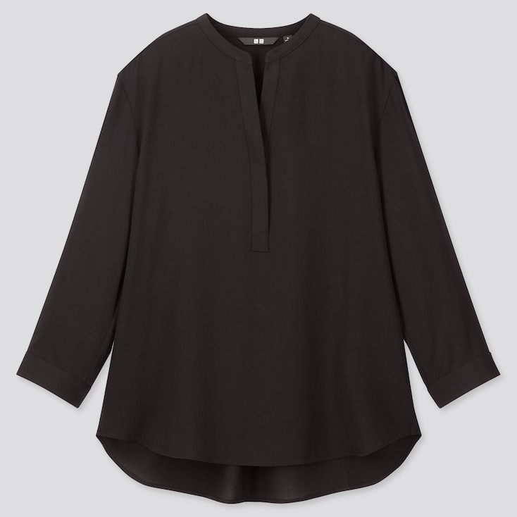 Women Rayon Stand Collar 3/4 Sleeve Blouse, Black, Large