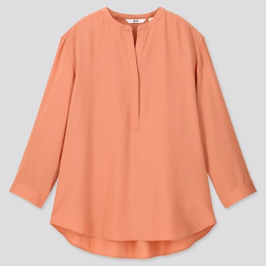 Women Rayon Stand Collar 3/4 Sleeve Blouse, Light Orange, Medium