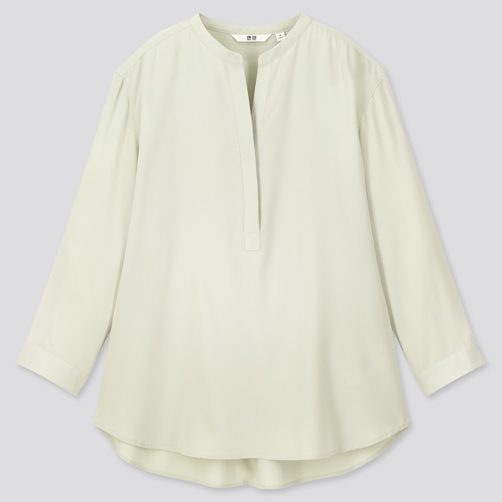 Women Rayon Stand Collar 3/4 Sleeve Blouse, Light Green, Large