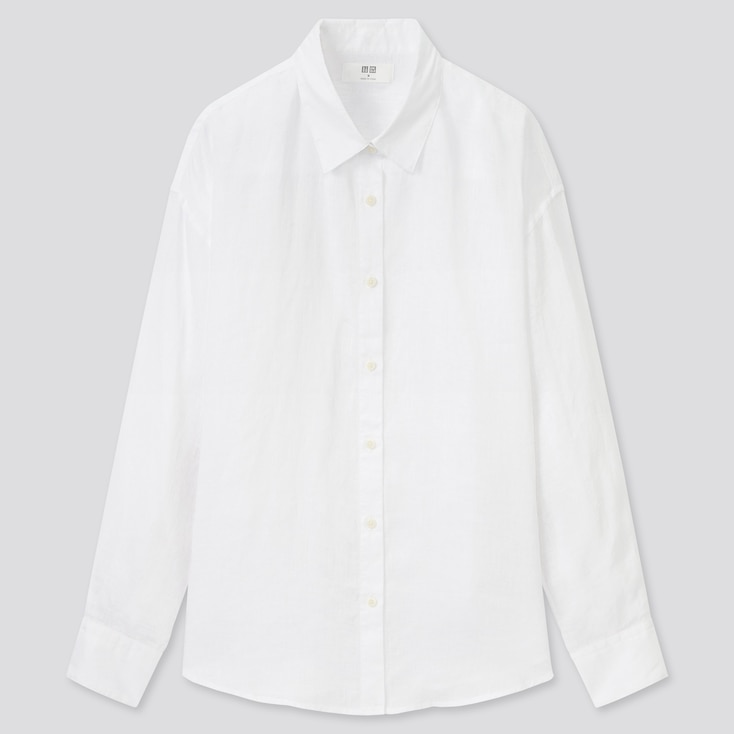 Women Premium Linen Long-Sleeve Shirt, White, Large